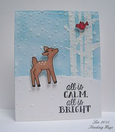AEI♥U Holiday challenge: Avery Elle stamps Let It Snow and Storybook. Simon's Falling Snow stencil