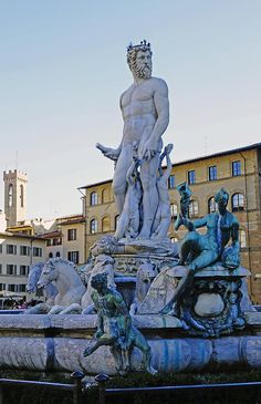 Florence Photograph - Fountain Of Neptune In The Piazza Della Signoria In Florence Italy by Richard Rosenshein
