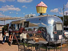 """My favorite: The famous """"Hey Cupcake!"""" AirStream on South Congress in Austin, Texas. This very popular restaurant is owned by the famous Austin entrepreneur, Wes Hurt, who has several locations across central Texas. Airstream, Food Trucks, Restaurants, Colorado, Food Vans, Austin Food, Food Trailer, Central Texas, Austin Texas"""