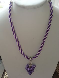 Purple and White Braided Necklace with a Beaded Dangle by SparklingYouDesigns on Etsy