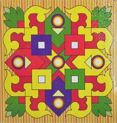 Colorful Sticker Rangoli Geometrical Print on Glazed Paper (Ritual Print on Sticker for Wall or Floor Decoration)