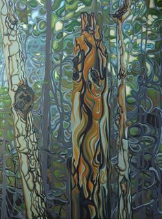 Three Sisters painting by Jan lyons Abstract Landscape, Landscape Paintings, Abstract Art, Abstract Trees, Tree Paintings, Canadian Painters, Canadian Artists, Painting Inspiration, Art Inspo