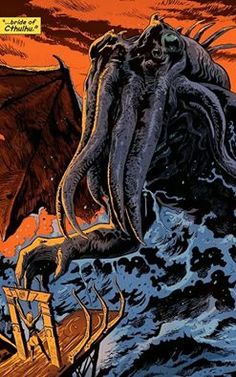 """Cthulhu is a fictional deity created by writer H. Lovecraft and first introduced in the short story """"The Call of Cthulhu"""", published in the pulp magazine Weird Tales in … Hp Lovecraft, Lovecraft Cthulhu, Afterlife With Archie, Yog Sothoth, Call Of Cthulhu Rpg, Lovecraftian Horror, Creepy Pictures, Lord, Vintage Horror"""
