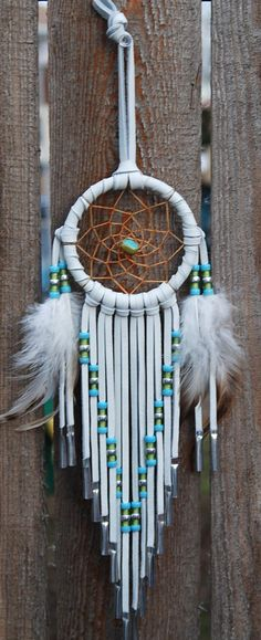 3 Inch White Deerhide Dream Catcher-Turquoise and por SouthernCloud