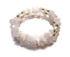 Natural Rose Quartz, Freshwater Pearl & Gold Bracelet by splendidstones. Explore more products on http://splendidstones.etsy.com