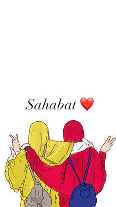 Best Friend Drawings, Bff Drawings, Islamic Quotes Friendship, Girl Cartoon, Cute Cartoon, Best Friend Wallpaper, Friends Illustration, Hijab Drawing, Islamic Cartoon