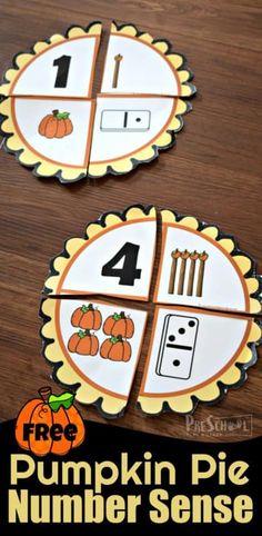 FREE Pumpkin Pie Number Sense Activities for Preschoolers