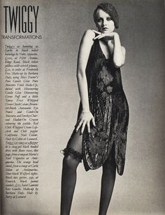 Twiggy in a flapper inspired dress. Photographed by Barry Lategan in 1974.