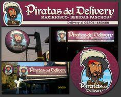 """Carteleria BackLight y Logotipo realizado para """"Piratas del Delivery"""""""