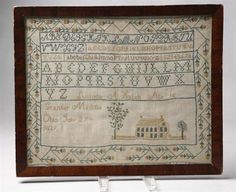 "MEDINA COUNTY, OHIO SAMPLER. Marked ""Lucinda A. Hatch Age 16 Granger Medina Ohio July 27 1839"" in silk thread on linen ground. Pictured on pg. 245 in Ohio Is My Dwelling Place authored by Sue Studebaker. This sampler was the only Medina County example documented in the research for the book. Daughter of Hiram and Amanda Hatch, Lucinda married Charles Williamson in 1851.Tradition states that the house depicted is Lucinda's girlhood home."
