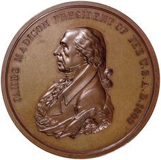 1809-Dated JAMES MADISON INDIAN PEACE MEDAL In Bronze. Gem Mint State