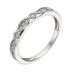 9ct White Gold Diamond & Milgrain Ring- H. Samuel the Jeweller