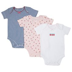 Buy John Lewis Strawberry Bodysuit, Pack of 3, Pink/Blue Online at johnlewis.com