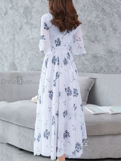 2028a784c0 Fashion Chiffon V-Neck Flare Sleeve Print Maxi Dress - DressSure.com  Flowing Dresses