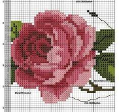 Cross Stitch Rose, Cross Stitch Flowers, Cross Stitch Embroidery, Cross Stitch Patterns, Cactus E Suculentas, Bargello Patterns, Pirate Birthday, Filet Crochet, Rose Bouquet