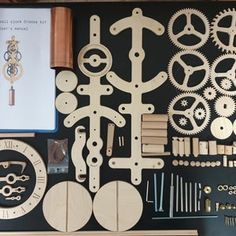 Wooden Wall Clock LILY Kit DIY Project Kit Pendulum | Etsy Wooden Clock Kits, Wall Clock Kits, Wooden Boxes, Wall Clock Pocket Watch, Windmill Clock, Wooden Gears, Steampunk Clock, Pendulum Wall Clock, Wooden Projects