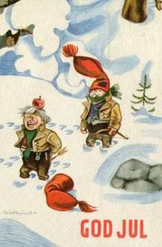 Kjell Aukrust Scandinavian Christmas, Christmas Cards, Christmas Postcards, Thank You Cards, Norway, Rooster, Disney Characters, Fictional Characters, Disney Princess