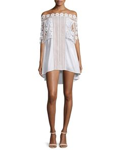 Serena Off-the-Shoulder Poplin Dress, White by Self Portrait at Bergdorf Goodman.