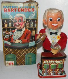 1950s Mechanical Tin Toy BARTENDER Battery Operated Works Great Made in JAPAN