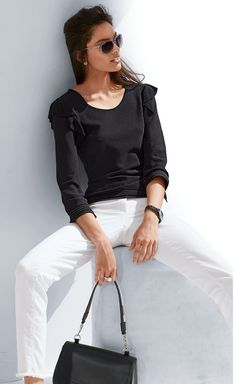 Madeleine Fashion in Black and White Madeleine Fashion, Black Tops, Black And White, Spring Tops, Irina Shayk, Diaries, Lace Skirt, Bell Sleeve Top, Classy