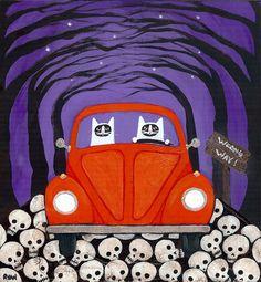 Halloween Road Trip Cats Original Folk Art Painting