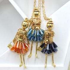 2015 Fashion Jewelry ! Doll Necklace Pendants Charms Free Shipping Women Accessories Female Crystal Beads DIY NS24701