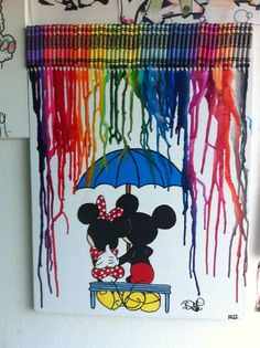 Mickey & Minnie crayon art!! my favorite cartoon characters with one of my favorite styles of art!!