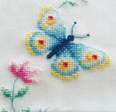 Cactus Cross Stitch, Butterfly Cross Stitch, Butterfly Embroidery, Wool Embroidery, Mini Cross Stitch, Cross Stitch Cards, Cross Stitch Borders, Hand Embroidery Stitches, Cross Stitch Designs