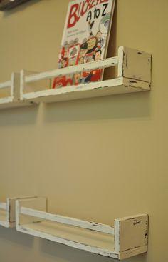 Distressed Ikea Spice Racks as bookshelves