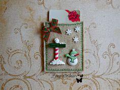 Gift card holder Felt machine embroidery gift by longvalleybears