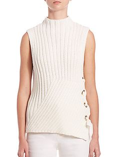 Derek Lam 10 Crosby Grommet-Detail Sleeveless Rib-Knit Sweater