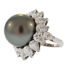 Van Cleef & Arpels Cultured Pearl and Diamond Ring | From a unique collection of vintage cocktail rings at http://www.1stdibs.com/jewelry/rings/cocktail-rings/