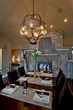 Moose Mountain Cottage Blend Thin Veneer stone from Montana Rockworks, Home built by Baywood Estate Homes #stone #thin veneer #design ideas #natural stone #dining room #interior #mosaic #random #fireplace