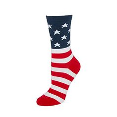 Bell Womens Crew American Flag Socks, Red/White/Blue >>> You can find more details by visiting the image link. Red And White Stripes, Red White Blue, American Flag Socks, Going For Gold, Novelty Socks, Dress Socks, Women's Socks & Hosiery, Comfortable Fashion, Casual