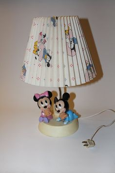 Vintage disney mickey mouse lamp light enchanting walt disney 1984 disney baby mickey and minnie nursery 3 way lamp with original shade works great aloadofball Choice Image
