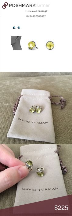 David Yurman Chatelaine Earrings in Citrine Color- citrine, gemstone is 8mm diameter, comes with pouch and cleaning cloth David Yurman Jewelry Earrings