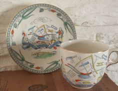 Burleigh Ware/Farmers Arms/Teacup And Saucer/Industry/Produce And Wealth by MerryLegsandTiptoes on Etsy
