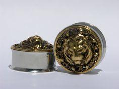 "Gold Lion Head Plugs 1/2"" 3/4"" 7/8"" Inch 12mm 19mm 22mm. $30.00, via Etsy."