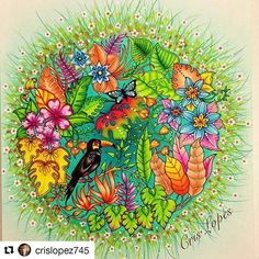 Mandala linda By  @crislopez745 with @repostapp #selvamagica #desenhoscolorir Magical Jungle - Johanna Basford  #staedtler #staedtlerpencils #colors #pencils #magicaljungle #johannabasford