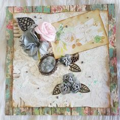 """Mixed Media Greeting Card """"Only Two of Us"""" with charms, cabochon, embellishments, fabric flowers,paper roses and pearls Paper Roses, Beautiful Gifts, Spring Collection, Greeting Cards Handmade, Mixed Media Art, Fabric Flowers, Embellishments, Charms, Gift Wrapping"""