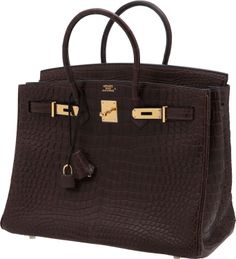 Hermes 35cm Matte Havane Porosus Crocodile Birkin Bag with Gold Hardware