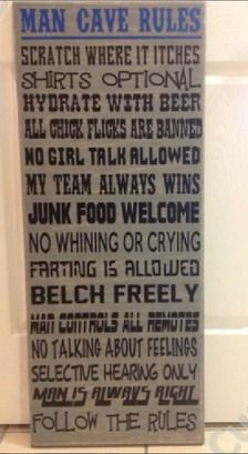 Man Cave Rules from Stacey's Custom Creations Man Cave Rules, Fill, Funny, Ha Ha, Hilarious, Humor
