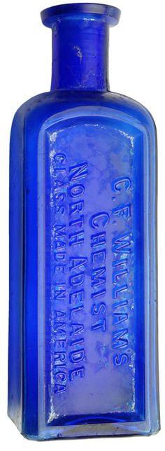 Auction 27 Preview | 617 | Williams Chemist North Adelaide Cobalt Blue Bottle Blue Glass Bottles, Cobalt Glass, Blue Bottle, Glass Jars, Cobalt Blue, Antique Bottles, Vintage Bottles, Bottles And Jars, Blue Art