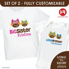 Retro Owl Big Sister & Owl Little Brother by HeatherRogersDesigns, $32.50