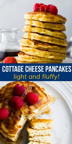 These cottage cheese pancakes are light and fluffy, with pockets of gooey cottage cheese. With 6 g of protein per pancake, they will actually fill you up, and they are simple to mix up in one bowl. Best Breakfast Recipes, Savory Breakfast, Breakfast Casserole, Brunch Recipes, Dessert Recipes, Cottage Cheese Pancakes, Protein Pancakes, Vegetarian Cheese, One Pot Meals