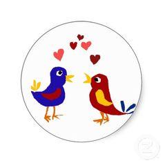Colorful Love Birds Primitive Art Round Sticker #birds #love #funny #animals #art #primitive #stickers #zazzle #petspower