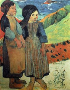 Paul Gauguin - Post Impressionism - Petites Bretonnes devant la mer - Little girls in front of the sea - 1889