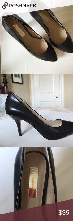 "INC International size 8 1/2 (3"" heel) black pumps Black leather like new. Only worn once! Size 8 1/2, 3"" heel INC International Concepts Shoes Heels"