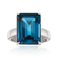 Simply stated but oh so stylish. Our statement-making gemstone ring showcases a clean and crisp emerald-cut carat London blue topaz in a brightly polished… Silver Stacking Rings, Heart Jewelry, Geode Jewelry, Blue Topaz Ring, Garnet Gemstone, London Blue Topaz, Engagement Ring Settings, White Gold Diamonds, Gemstones