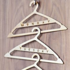 Wood Clothes Hangers, Custom Laser Engraving